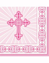 Pink Radiant Cross Decorations and Partyware