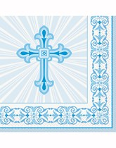 Blue Radiant Cross Christening Decorations and Partyware
