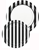 Tableware and decorations printed with black stripes