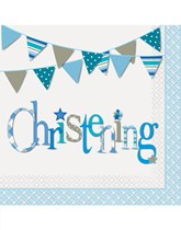 Blue christening decorations and partyware
