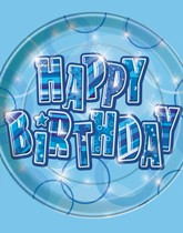 Children and teen party supplies and tableware with a blue Birthday Glitz theme