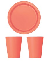 Party Tableware themed in Coral