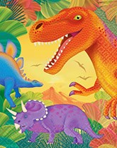 Party supplies and tableware with a Dino Birthday Theme