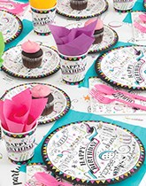 Doodle Birthday party supplies, tableware and decorations.