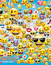 Emoji themed party supplies and decorations.