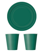 Party tableware themed in Forest Green