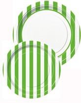 Tableware and decorations printed with green stripes