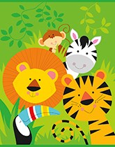 Jungle Animal birthday party supplies, tableware and decorations.