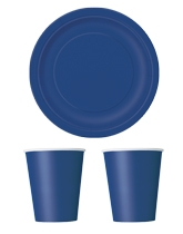 Party tableware themed in Navy Blue