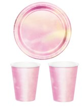 Pastel Pink Iridescent Tableware