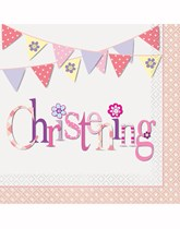 Pink Christening party decorations and tableware.