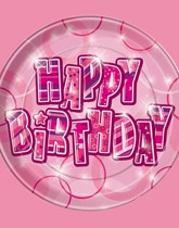 Party supplies and tableware with a Pink Birthday Glitz theme