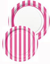 Tableware and decorations printed with pink stripes