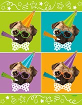 Pug Puppy Happy Birthday party supplies, tableware and decorations
