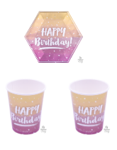 Rose Gold Ombre Happy Birthday Tableware