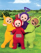 Teletubbies party supplies, balloons and decorations.