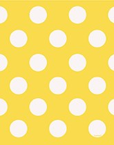 Party supplies and decorations with a yellow decorative dots theme