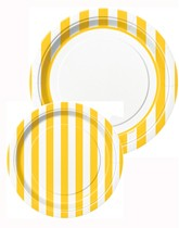 Tableware and decorations printed with yellow stripes