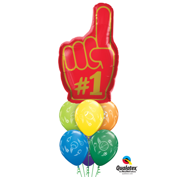 "Number 1 Finger Qualatex 39/"" Supershape Foil Helium Balloon"