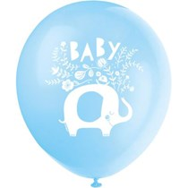 "Blue Baby Elephant 12"" Latex Balloons 8pk"