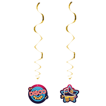 Disco Fever Party Hanging Swirl Decorations 2pk