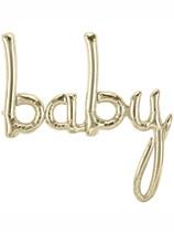 "Baby Script 27"" Foil Balloon - White Gold"