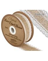 Woven Hessian Lace Edge Ribbon 5yds