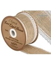 Woven Lace Edge Hessian Ribbon 5yds