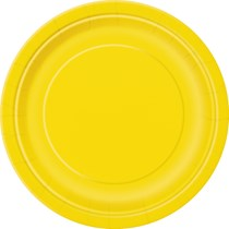 """Sunflower Yellow 9"""" Round Paper Plates 16pk"""