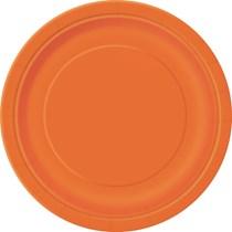 """Pumpkin Orange 9"""" Round Paper Plates 16pk"""