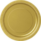 """Gold 9"""" Round Paper Plates 8pk"""
