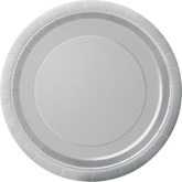 """Silver 7"""" Round Paper Plates 8pk"""