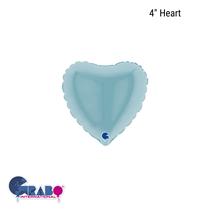 "Grabo Pastel Blue 4"" Foil Heart Balloon"