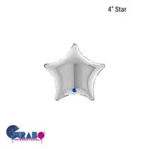 """Grabo Silver 4"""" Star Foil Balloon"""