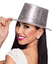 Silver Glitter Top Hat