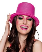 Adults Neon Pink Glitter Top Hat