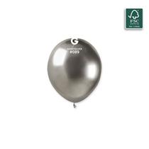"Gemar Shiny Silver 5"" Latex Balloons 50pk"