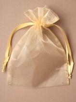 Large Gold Organza Favour Bags - 12pk