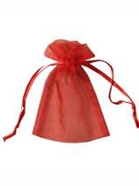 Medium Red Organza Favour Bags - 12pk