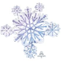 Christmas Snowflake Cluster Supershape Foil Balloon