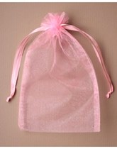 Large Pink Organza Favour Bags - 12pk