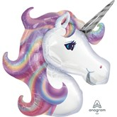 "Pastel Unicorn Head Foil 33"" SuperShape Balloon"