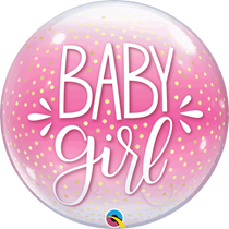 "Baby Girl Confetti Dots Pink 22"" Bubble Balloon"