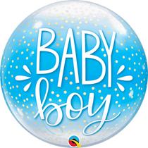"Baby Boy Confetti Dots Blue 22"" Bubble Balloon"