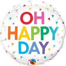 "Oh Happy Day Rainbow Confetti 18"" Foil Balloon"