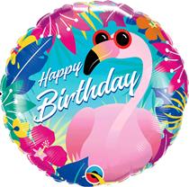 "Happy Birthday Tropical Flamingo 18"" Foil Balloon"