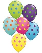 """11"""" Colourful Asst. Big Polka Dots Latex Balloons - 50pk"""
