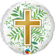 """Golden Cross With Greenery 18"""" Foil Balloon"""