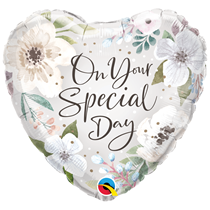 """Special Day White Floral 18"""" Heart Foil Balloon"""