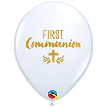 "First Communion Cross 11"" White Latex 25pk"